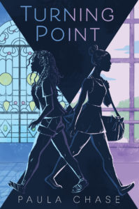 Blue and purple cover title with words Turning Point and two girls walking away from one another